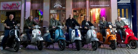 Paisley Vespa Club outside Burger & Keg